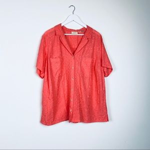 Anthropologie Maeve Coral Eyelet Top Size 20W
